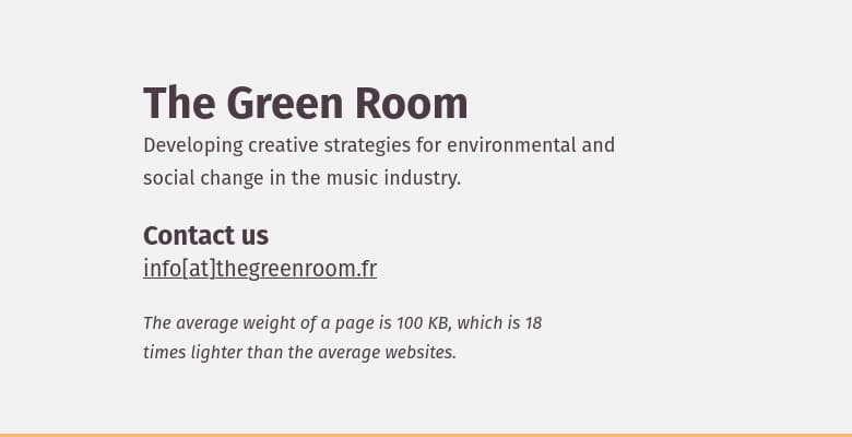 Screenshot of thegreenroom.fr website with the mention of the weight of a page. The weight per page is 100ko.